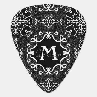 Black and White glitter geometric shape patten Guitar Pick