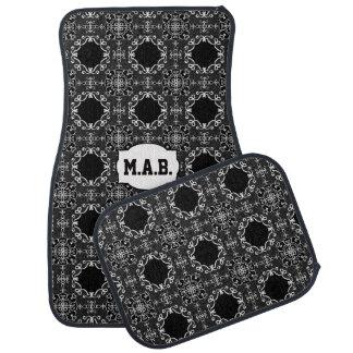 Black and White glitter geometric shape patten Floor Mat