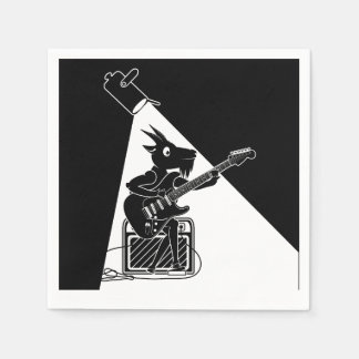 Black and white goat playing an electric guitar disposable napkins
