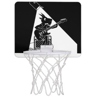 Black and white goat playing an electric guitar mini basketball hoop