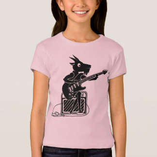 Black and white goat playing an electric guitar T-Shirt