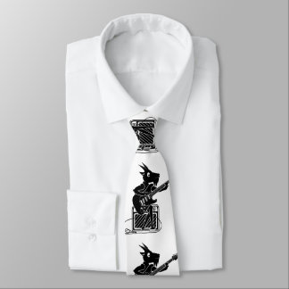 Black and white goat playing an electric guitar tie