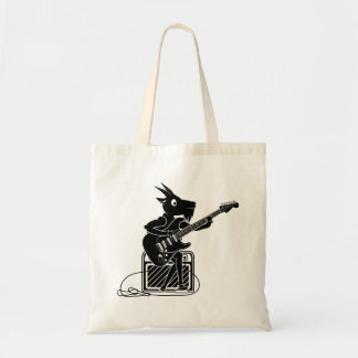 Black and white goat playing an electric guitar tote bag