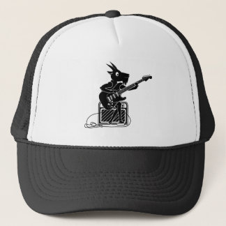 Black and white goat playing an electric guitar trucker hat