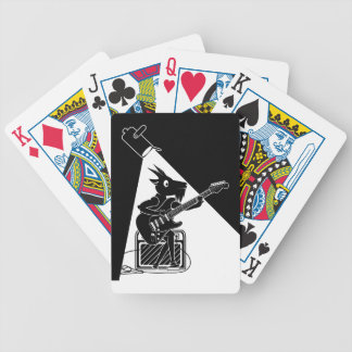 Black and white goat playing guitar bicycle playing cards