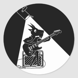 Black and white goat playing guitar classic round sticker