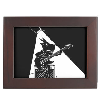 Black and white goat playing guitar keepsake box