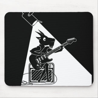 Black and white goat playing guitar mouse pad