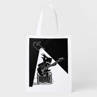 Black and white goat playing guitar reusable grocery bag