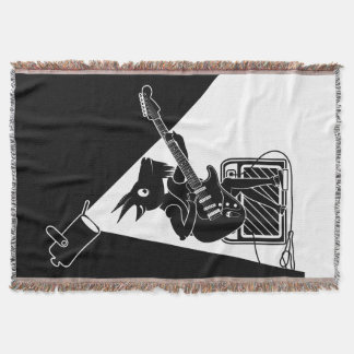 Black and white goat playing guitar throw blanket