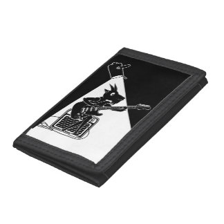 Black and white goat playing guitar tri-fold wallets