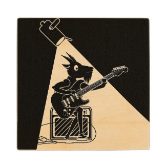 Black and white goat playing guitar wood coaster