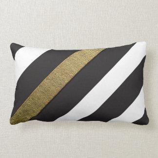 Black and White Gold Stripes Throw Pillow Lumbar