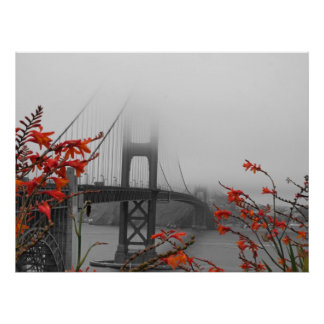 Black and White Golden Gate Bridge Poster
