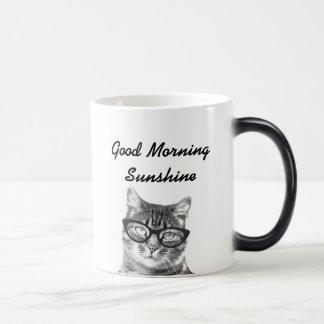 Black and white good morning message 11oz cat mug