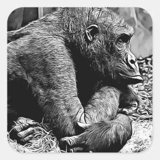 Black and White Gorilla Photo Digital Art Stickers