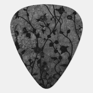 Black and White Gothic Antique Floral Guitar Pick