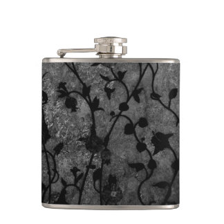 Black and White Gothic Antique Floral Hip Flask