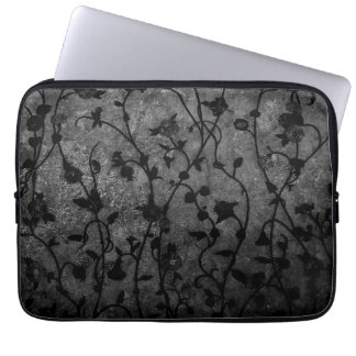 Black and White Gothic Antique Floral Laptop Sleeve