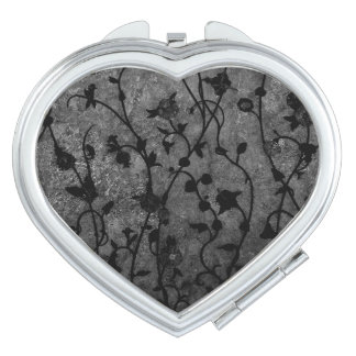Black and White Gothic Antique Floral Makeup Mirror