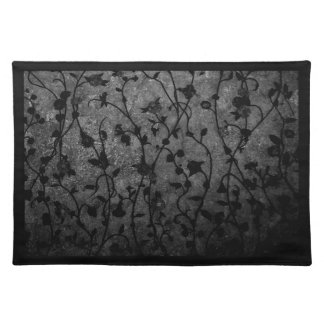 Black and White Gothic Antique Floral Placemat