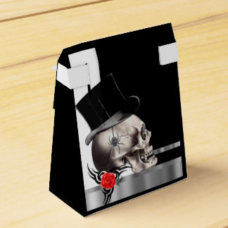 Black and white gothic groom skull goth wedding favour box