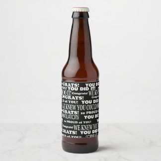 Black and White graduate theme Beer Bottle Label