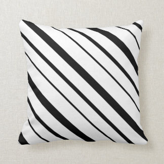 Black and White Graduated Stripes Cushion