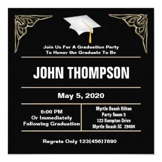 Black and White Graduation Party Invitation