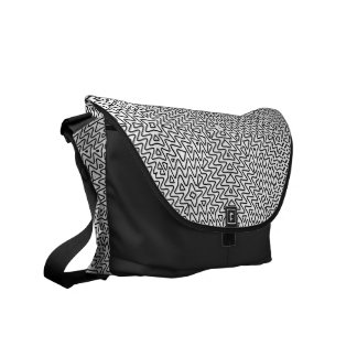 Black and white graffiti minimal courier bag