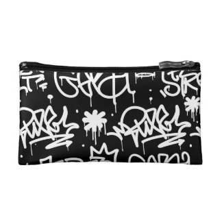 Black and White Graffiti pattern Makeup Bag