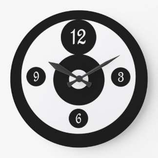 Black and White Graphic Art Circles Wall Clock