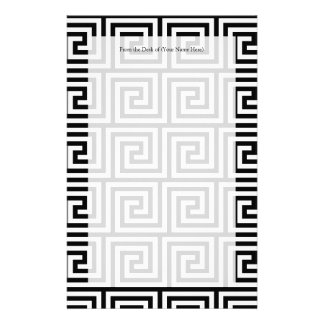 Black and White Graphic Greek Key Pattern Stationery Design