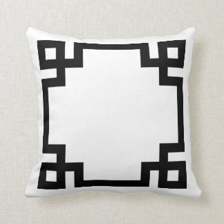 Black and White Greek Key Border Cushion