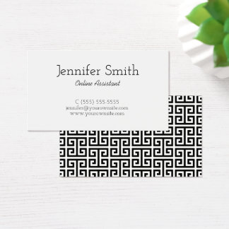 Black and White Greek Key Business Card