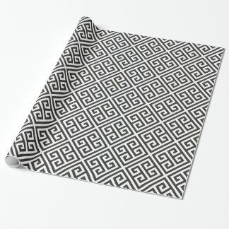 Black and White Greek Key Maze Pattern Wrapping Paper