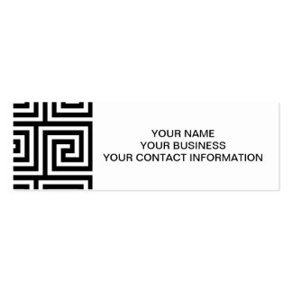 Black and White Greek Key Pattern Business Card Templates