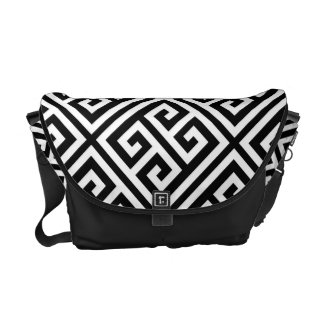 Black and White Greek Key Pattern Messenger Bag