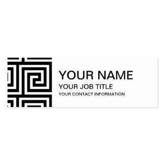 Black and White Greek Key Pattern Pack Of Skinny Business Cards