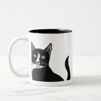 Black and White Green Eyed Cat Two-Tone Coffee Mug