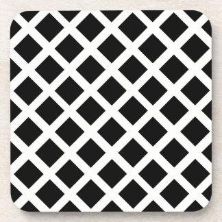 Black And White Grid Optical Illusion Pattern Coaster