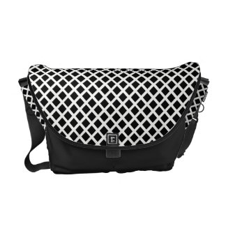 Black And White Grid Optical Illusion Pattern Courier Bags