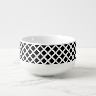 Black And White Grid Optical Illusion Pattern Soup Mug