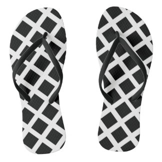 Black And White Grid Optical Illusion Pattern Thongs