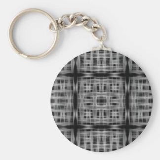 Black and white grid pattern basic round button key ring