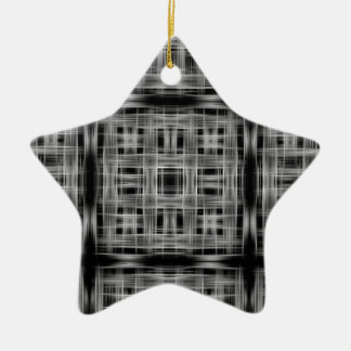 Black and white grid pattern ceramic star decoration