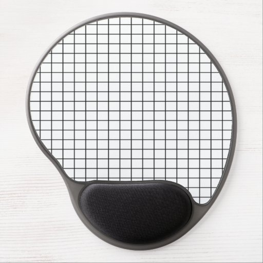 Black and White Grid Pattern Gel Mousepad
