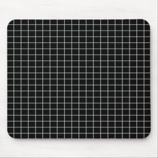 Black and White Grid Pattern Mousepad