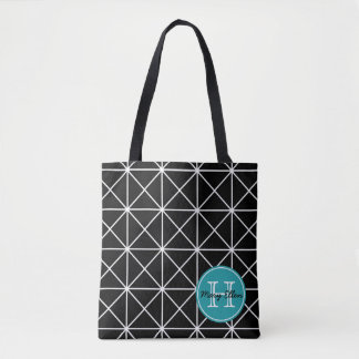 Black and White Grid With Turquoise Monogram Tote Bag