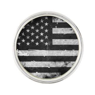 Black and White Grunge American Flag Lapel Pin